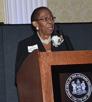Dr. Reba Hollingsworth talks about her life journey during the Del. Women's Hall of Fame Ceremony.