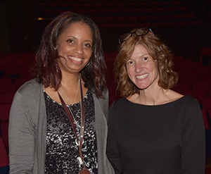 Dr. Shelly Rouser, chair of the Education Department, poses with Dana Bowe after she spoke to education majors.