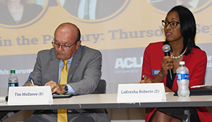 Democratic Attorney General candidates Tim Mullaney and LaKresha Roberts.