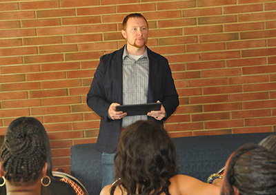 At the Laws Hall gathering, J.D. Bartlett spoke about Lydia Laws and about new residential hall to be constructed.