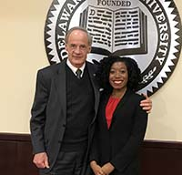 U.S. Tom Carper poses with Malia Green, biological science major, during his Jan. 18 meeting with Dr. Wilma Mishoe.