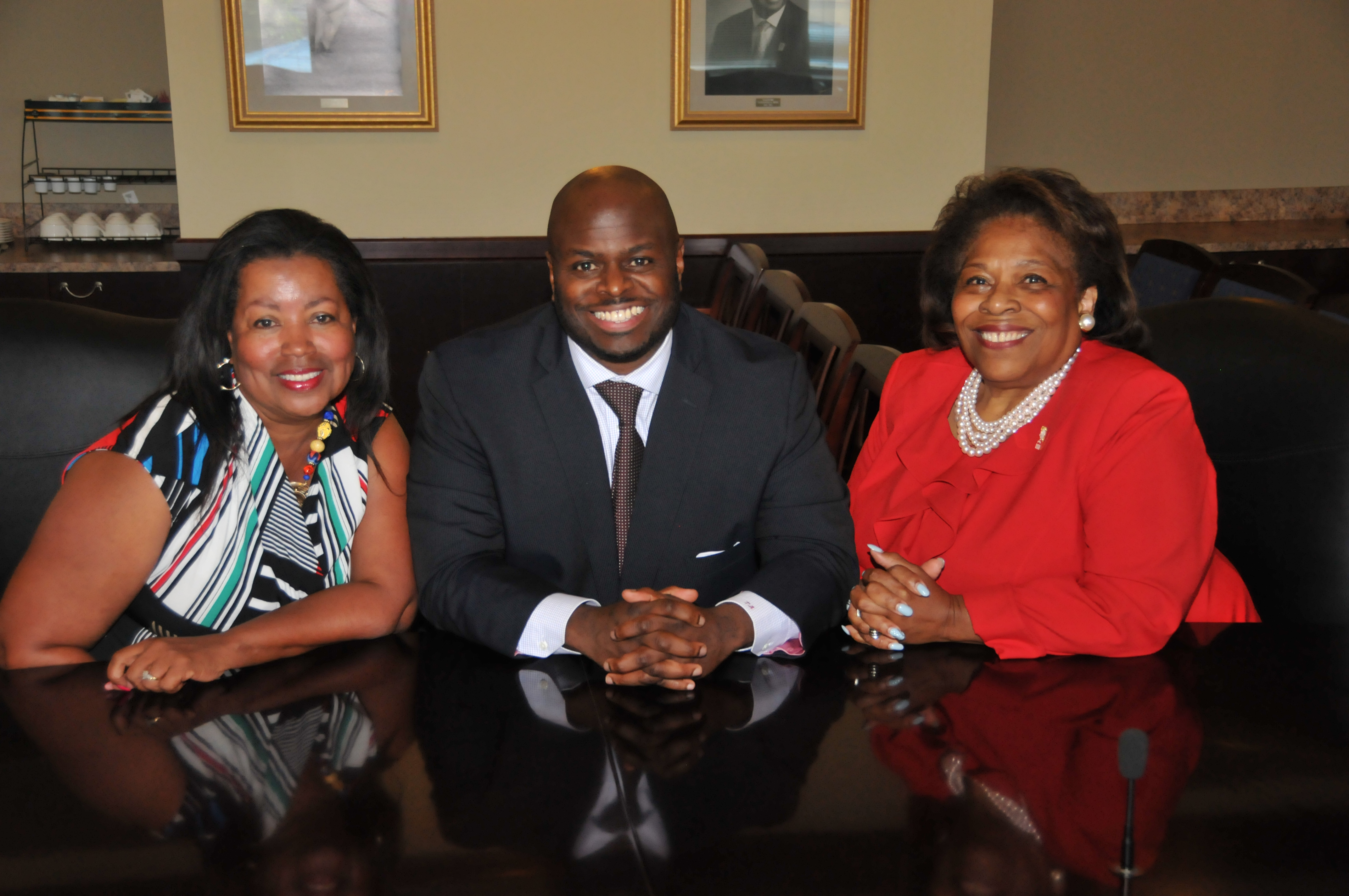 DSU new leadership trio: Board Vice Chair Dr. Devona Williams, Provost Dr. Tony Allen and Board Chair Dr. Wilma Mishoe.