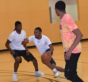 Competitive sports such as basketball is a great way to get some exercise.