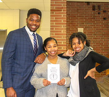 (l-r) Jared Jeffrey, president, Naeemah Murray, VP, and Nicole Spraulding, rec. secretary.