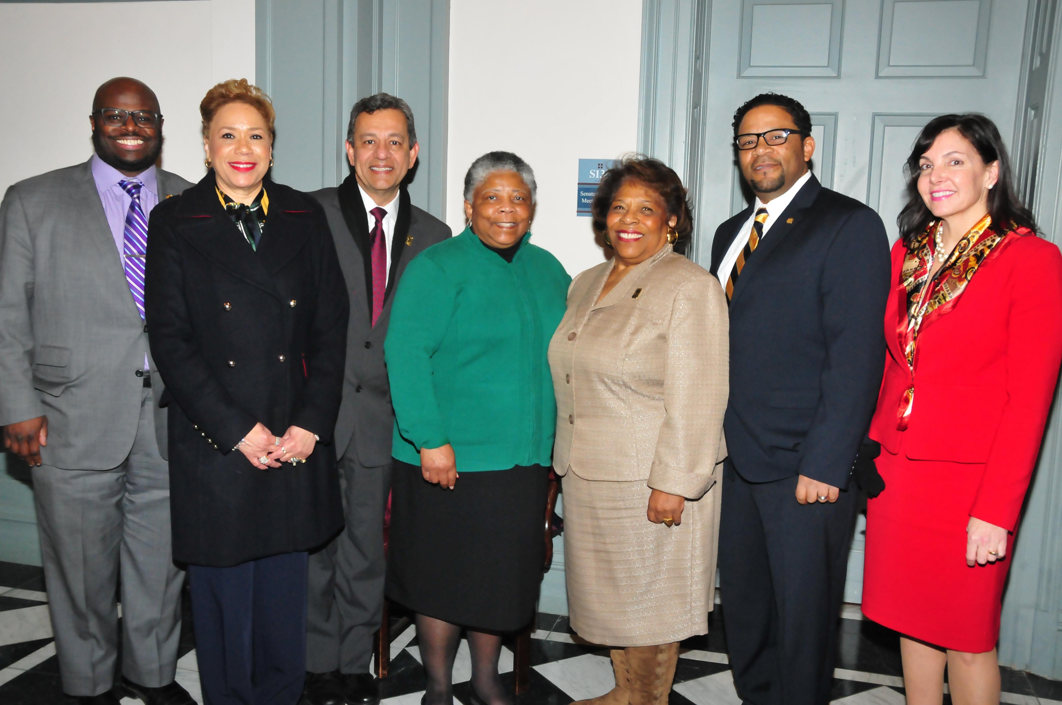 (L-r) Dr. Tony Allen, Cassandra Robinson, Jose Echeverri, Rev. Rita Paige, Dr. Mishoe, Travis Mishoe & Kathy McGuiness..