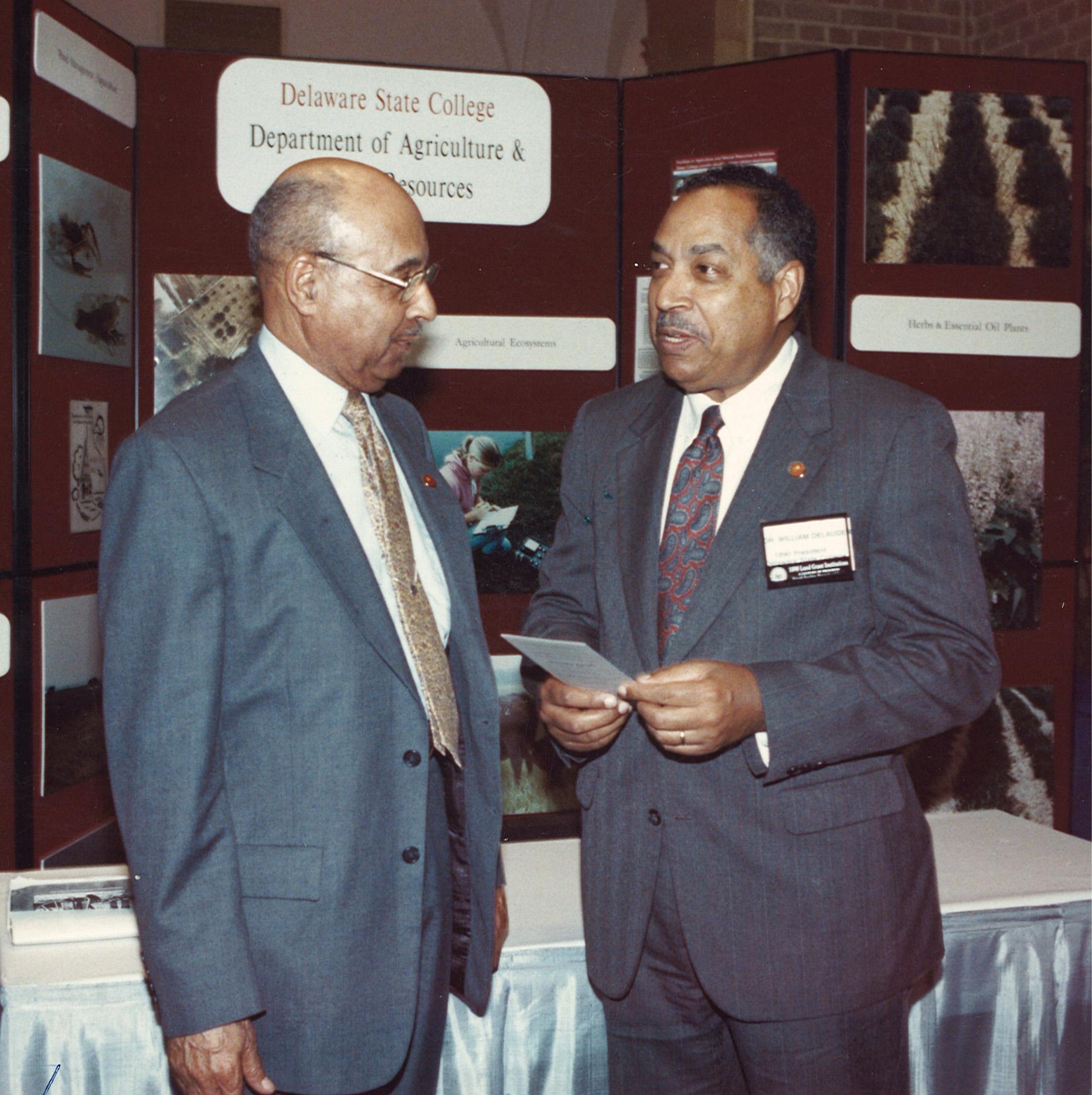 Dr. DeLauder (r) with former Ag program director, Dr. Ulysses S. Washington.
