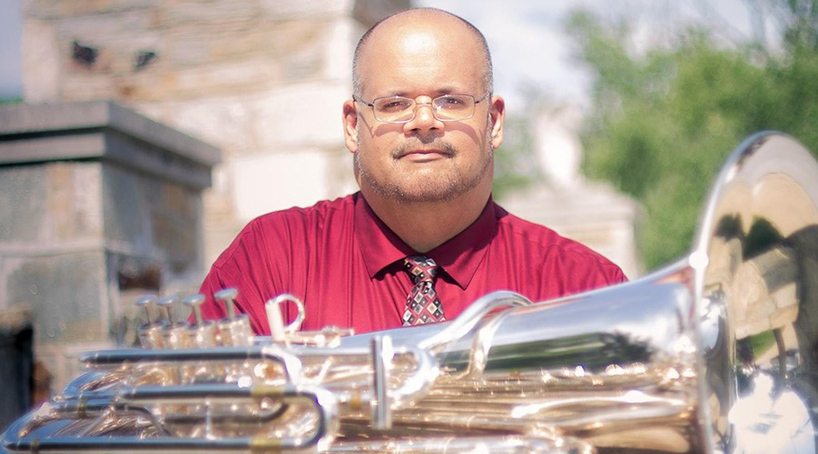 Andy Spang, tuba player and arranger with the Lyric Brass Quintet. He is the Director of Bands at Folly Quarter Middle School and the Director of Music at Emmanuel United Methodist Church.