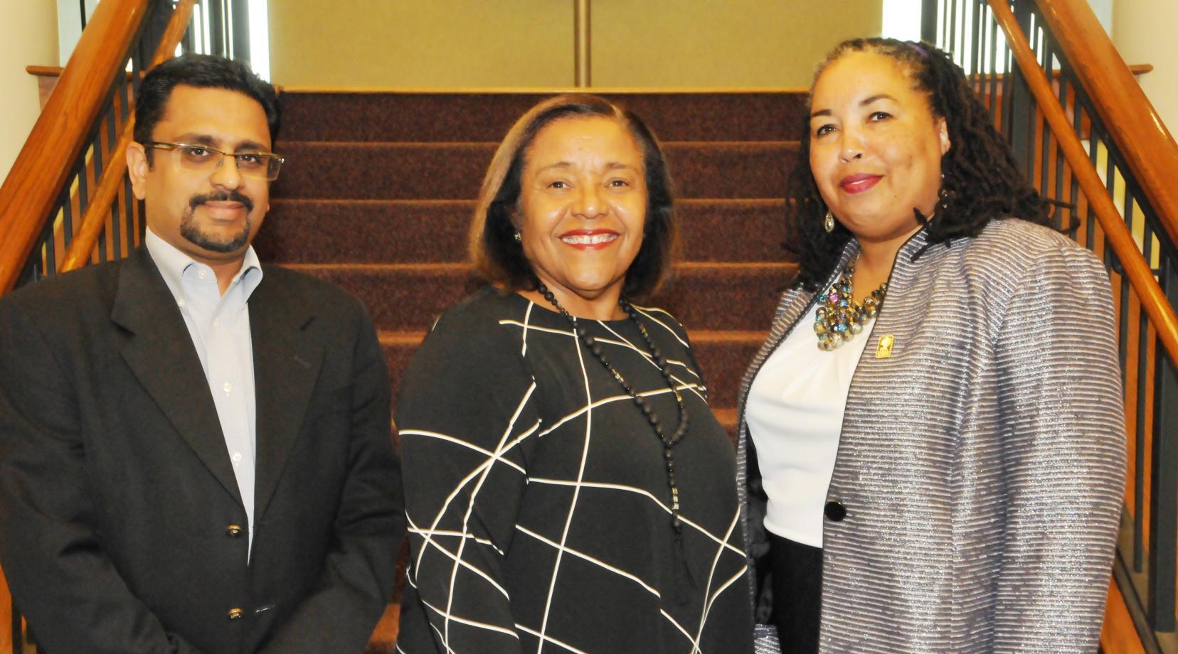 DSU College of Business leadership: (l-r) Dr. Praveen Pinjani, associate dean; COB Dean Donna Covington; and Dr. Lynda Murray-Jackson, associate professor.