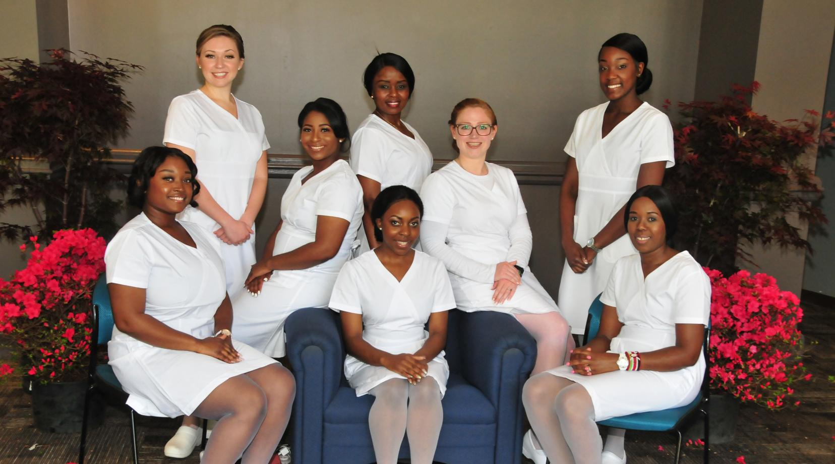 <p>DSU Department of Nursing's Class of 2018: (l-r) Alexis Sudler, Idalis Stamas, Breanna Clinton, Jadidah Gatheri (standing), Emmanuella Che (seated), Katherine Groves, Kayla Nelson and Mary Muthini.</p>