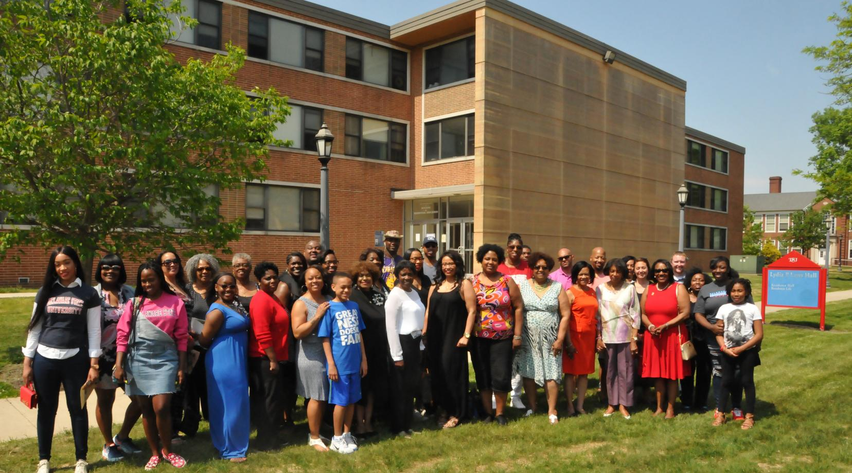 <p>A group of alumni and current DSU community members gathered May 12 to share memories about Lydia Laws Hall, which will soon be demolished to make way for a new residential facility.</p>