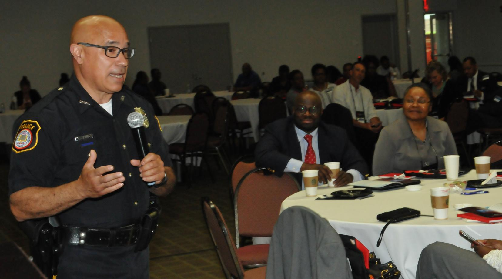 <p>DSU Ptlm. Jorge Camacho gave presentations on campus safety and emergency response/activity shooter.</p>