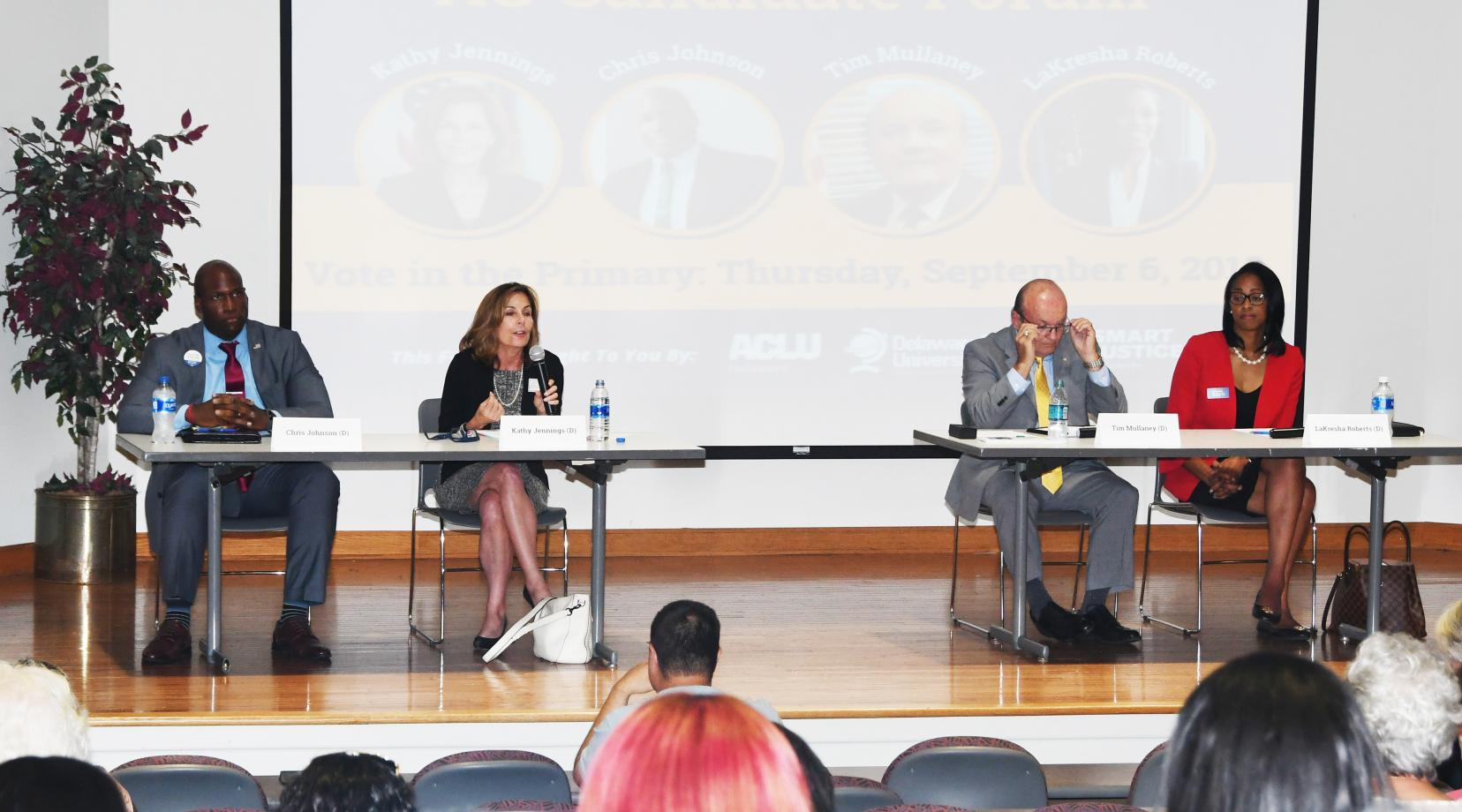 Democratic Attorney General candidates (l-r) Chris Johnson, Kathy Jennings, Tim Mullaney and LaKresha Roberts shared their views on mass incarceration and other criminal justice system issues during the ACLU's AG Forum held at DSU on Aug. 29.