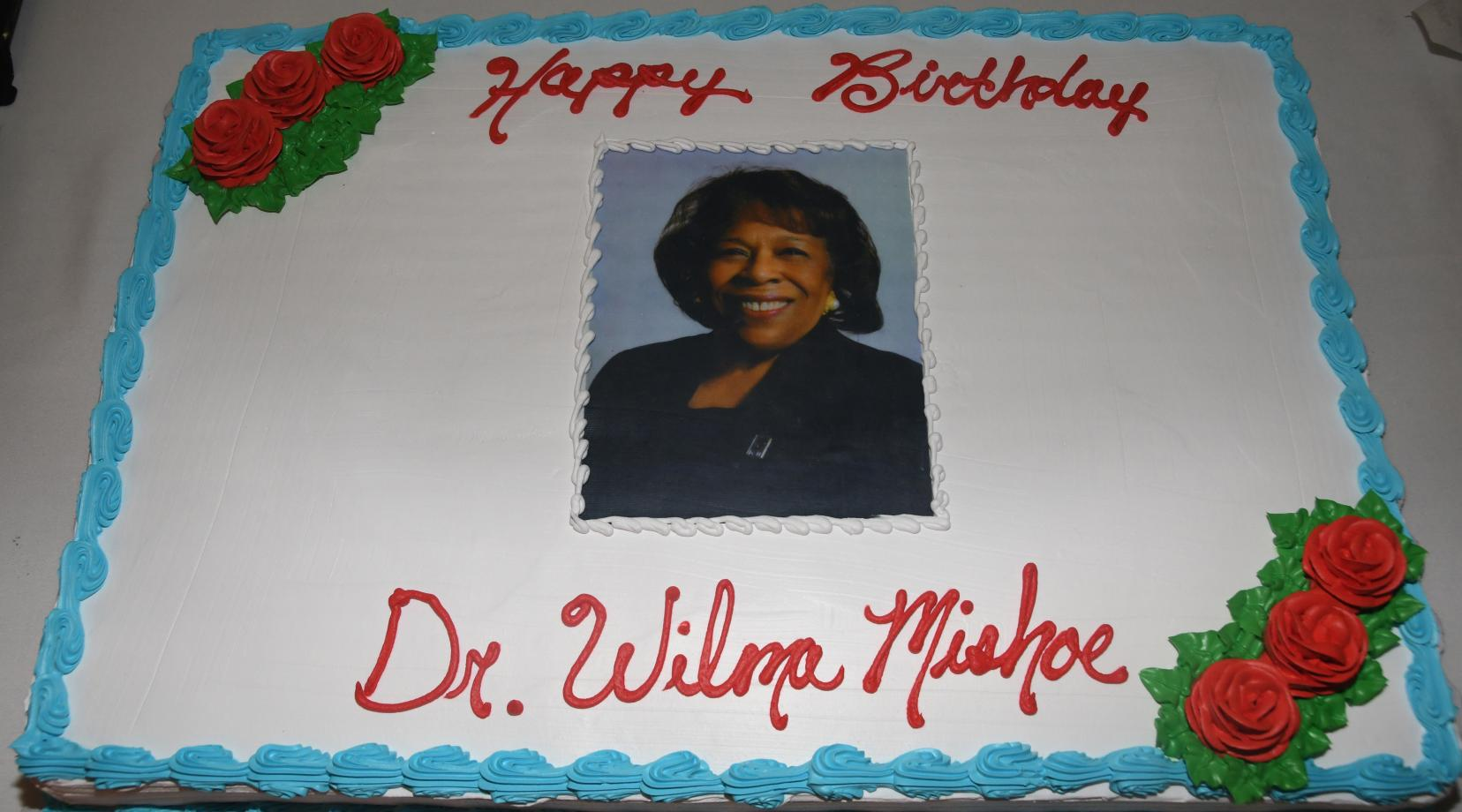 The cake that was made (and eaten) in celebration of Dr. Mishoe's 69th birthday.