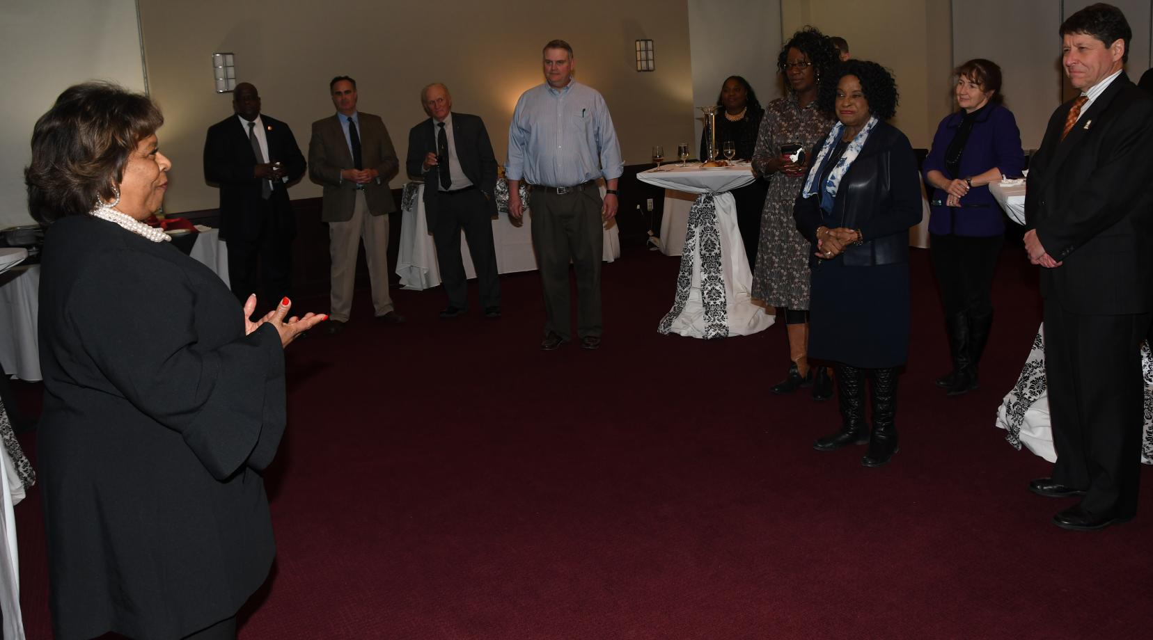 Delaware State University President Wilma Mishoe speaks to Delaware lawmakers during a Jan.22 Legislators Reception on campus