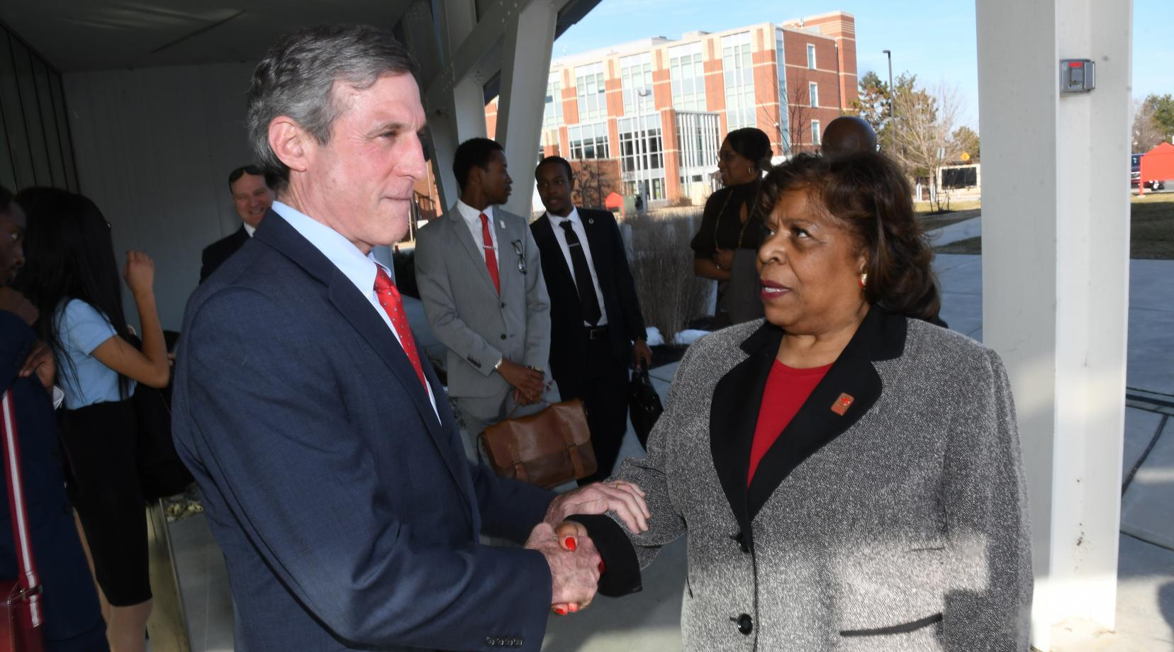 <p>Gov. John Carney is thanked by University President Wilma Mishoe for his visit to the campus on Feb. 5.</p>