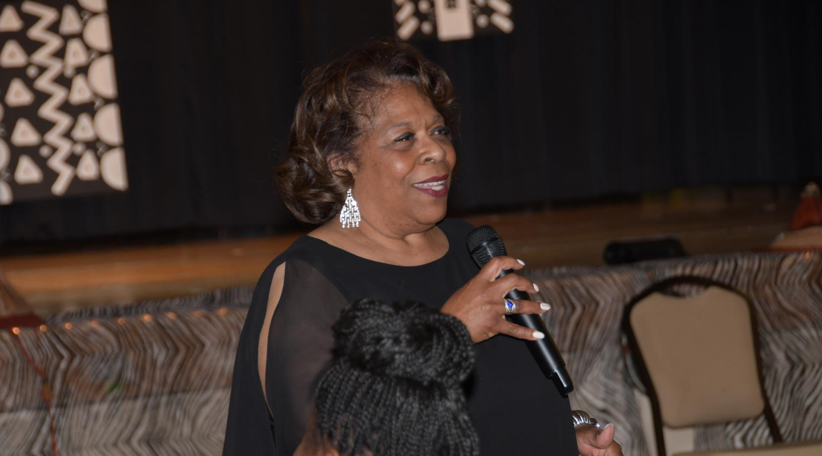 University President Wilma Mishoe speaks after the Inner City Cultural League announced her as its recipient of the 2019 Sankofa Golden Phenomenal Woman Award.