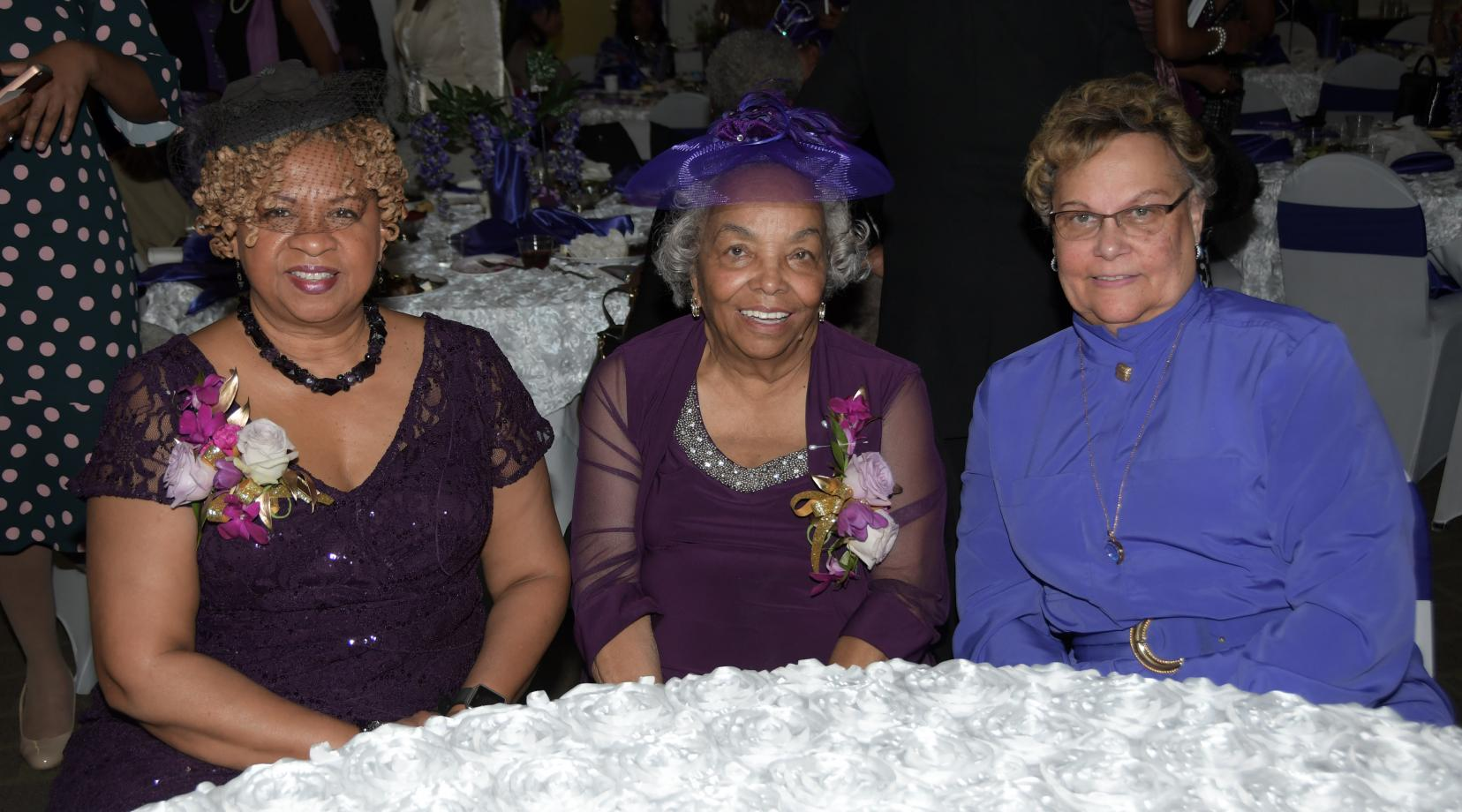 The 2019 Hats & Gloves Tea honorees: (l-r) Dr. Hanifa Shabazz, Peggy Swygert and Rev. Jean Wylie.