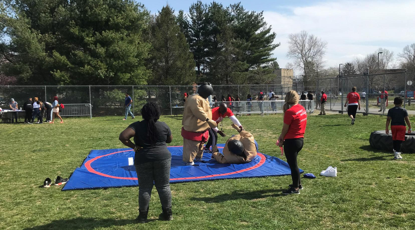 Sumo wrestling was one of the world activities that took place during the Spring Fling Carnival.