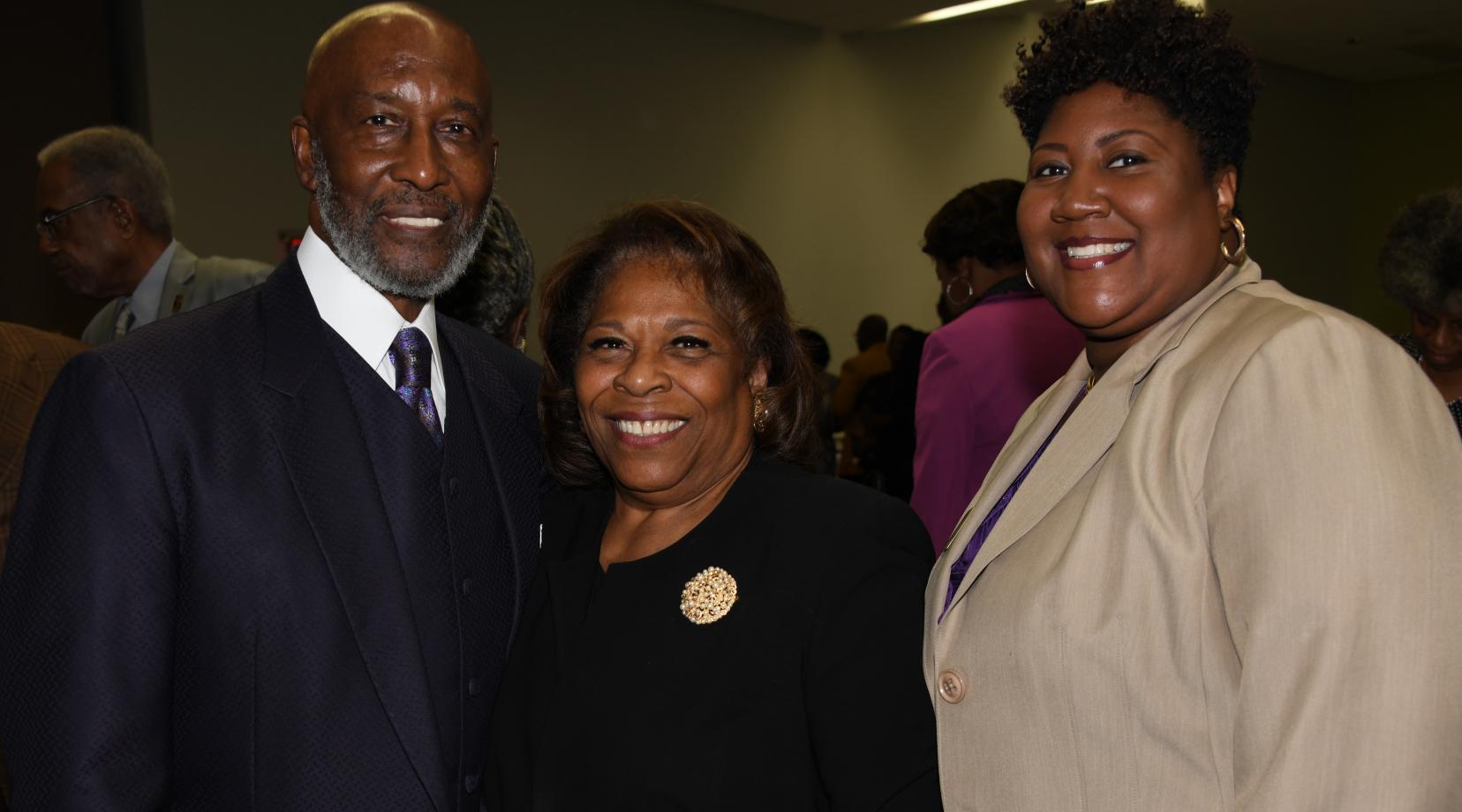 Bishop John R. Bryant, Prayer Breakfast keynote speaker, University President Wilma Mishoe, and Rev. Erika Crawford, Community Faith Partner Awardee.