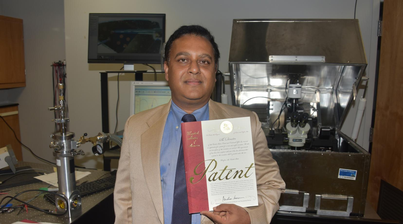 Dr. Mukti Rana, professor of physics and engineering, holds one of two patents awarded to Delaware State University, both of which he was the principal investigator.