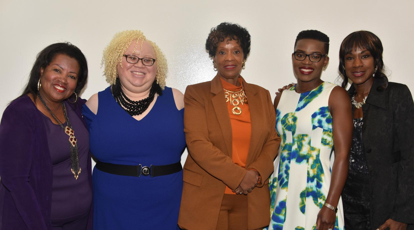 (L-r) Dr. Devona Williams, DSU Board of Trustees chairperson, Sara Crawford-Jones, director of the Women's Business Center, of True Access Capital, Audrey Scott-Hynson, owner of A. Scott Enterprises, Linda Arrey keynote speaker, and Lillie Crawford, event organizer, gather for a photo during the Women's Entrepreneurship Week observance at the University.