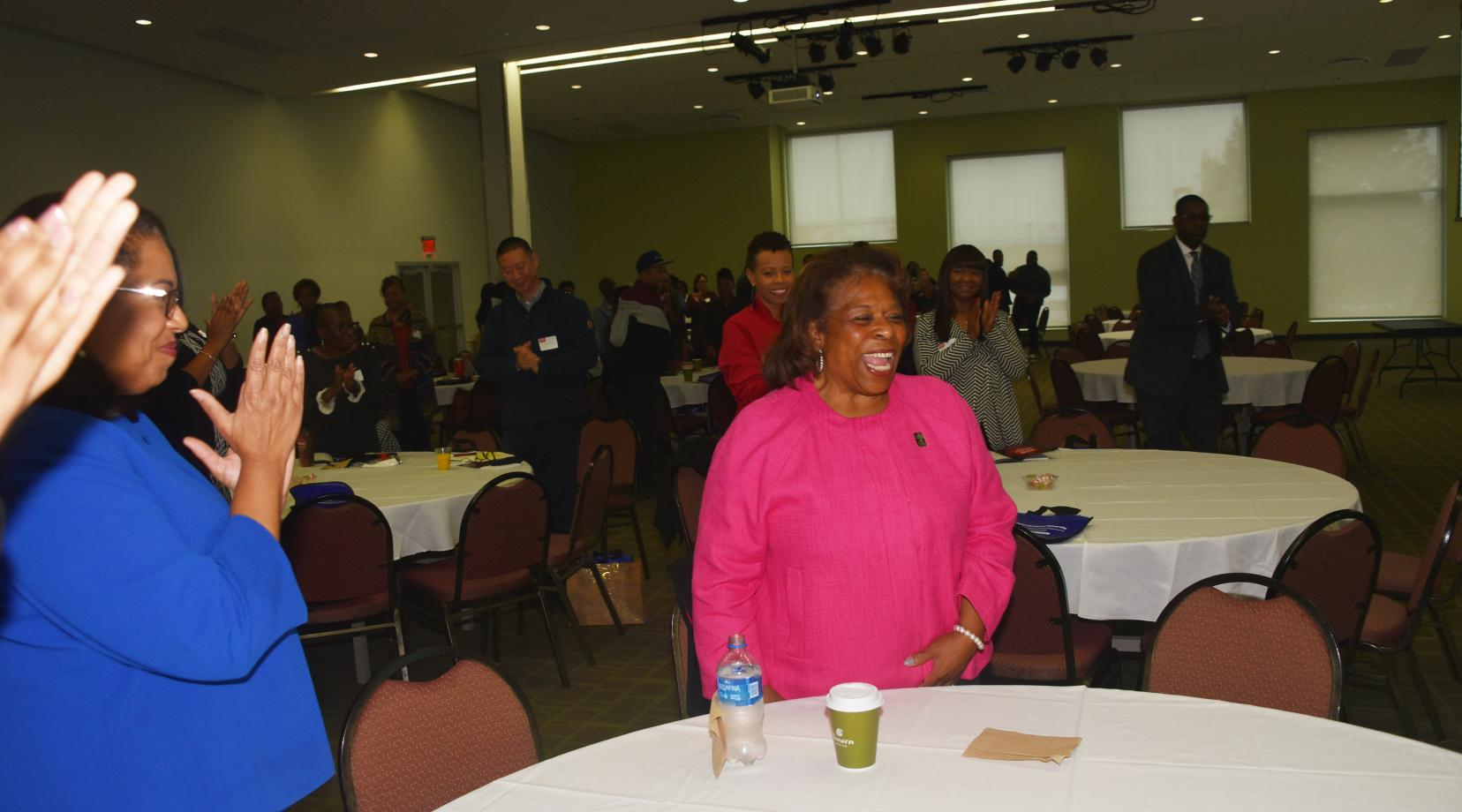 Following University President Wilma Mishoe's remarks at the Oct. 30 Professional Development Workshop, the parlor-filled gather gave her a standing ovation in recognition of the leadership she has provided during her tenure. Dr. Mishoe recently announced that she will retire at the end of 2019.