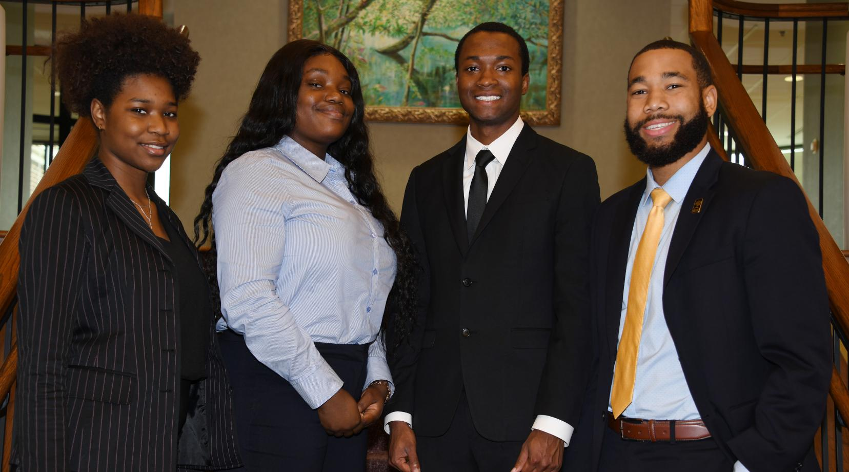 <p>The College of Business team of (l-r) Yazmin Harris, Faith Olasupo, Job Albarr and Corban Weatherspoon took second place in the HP Omen Business Case Competition</p>