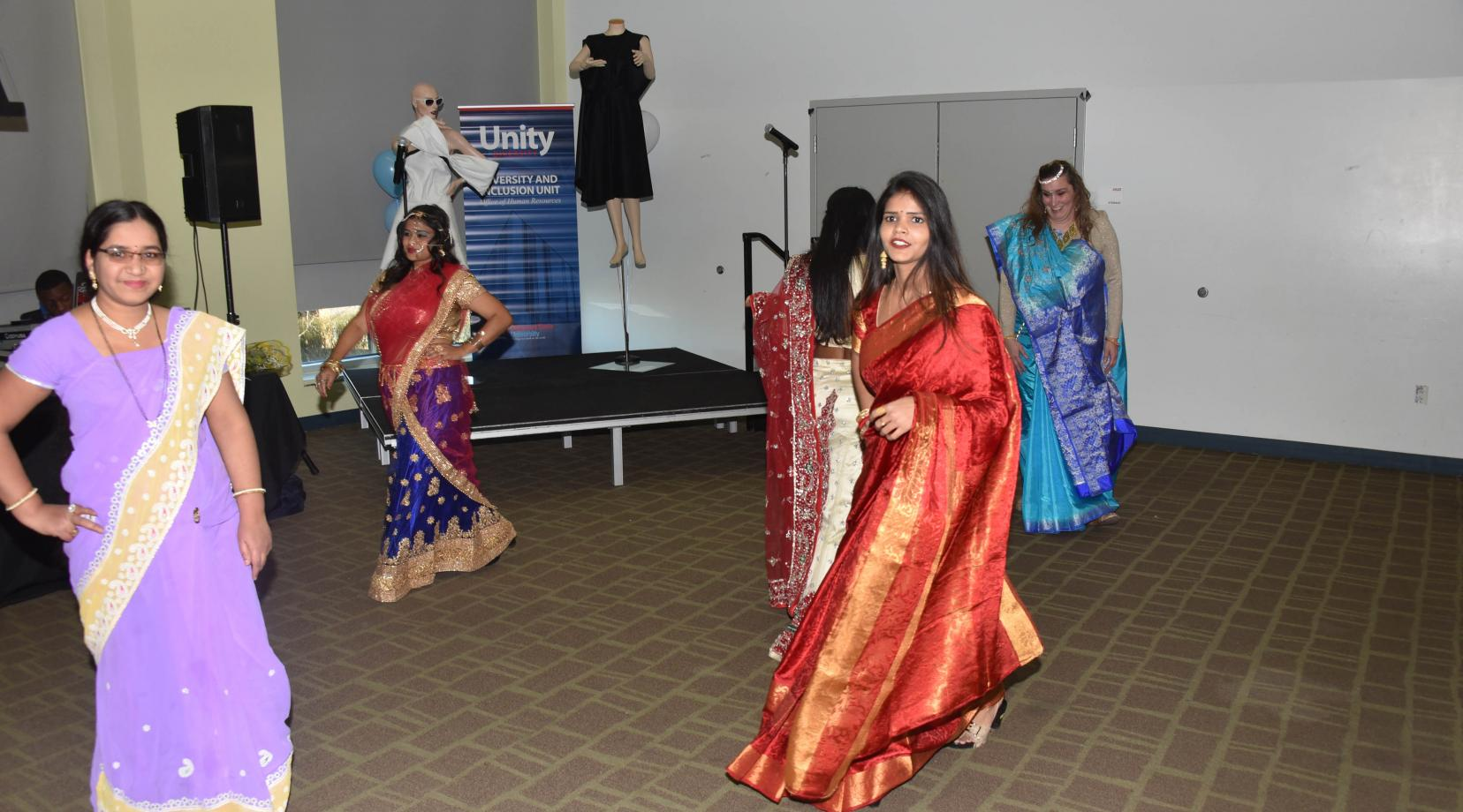 <p>A group of East Indian women performed a dance and fashion presentation during the 2019 Unity Day events in the MLK Jr. Student Center.</p>