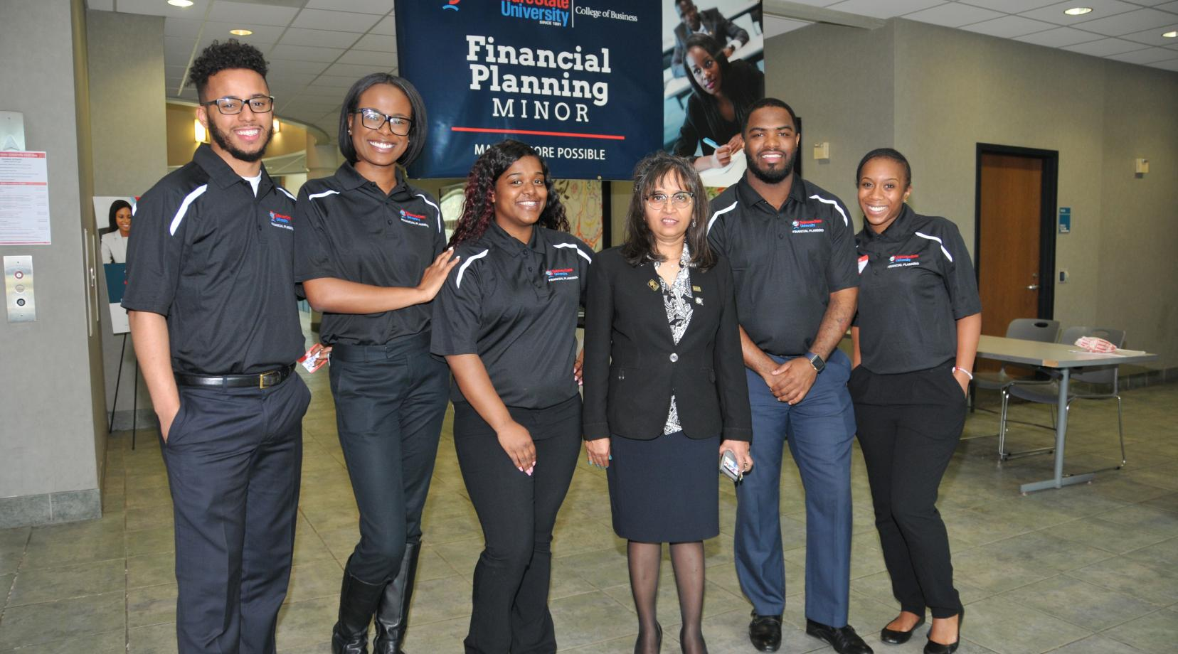 (L-r) Tabias Slaughter, Raven Wainwright, Whitney Douglas, Dr. Nandita Das, Reginald Adams and J'Lynn Drennan represent the founding instructor and students of the new Financial Planning minor.