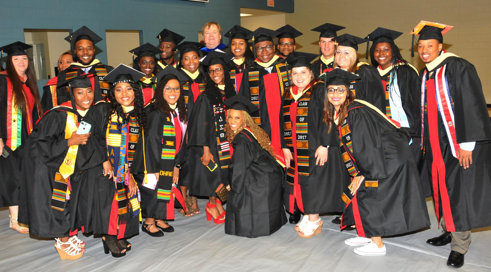 <p>A group of College of Agriculture and Related Sciences students and Ag and Natural Resources Chair Dr. Richard A. Barczewski celebrate the undergraduates' completion of their degrees.</p>