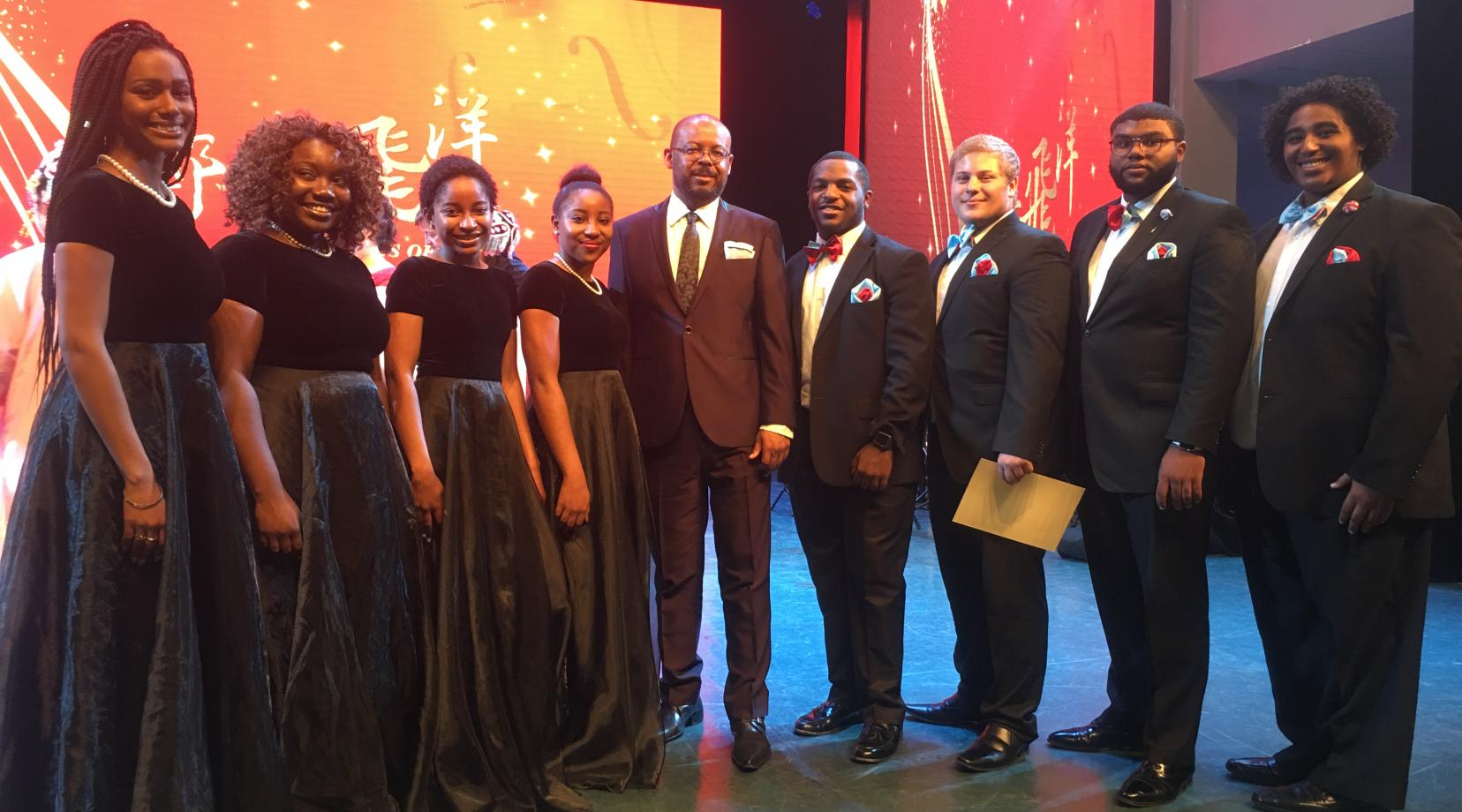 <p>The DSU Singers in China – (l-r) Chelsea Taylor, Jaselah White, Jasmine Clementson, Cache Smith, Dr. Lloyd Mallory, Jr., Tylor Brown, Mitchell Clark, George Mensah, Jr., and Willie Shepherd.</p>