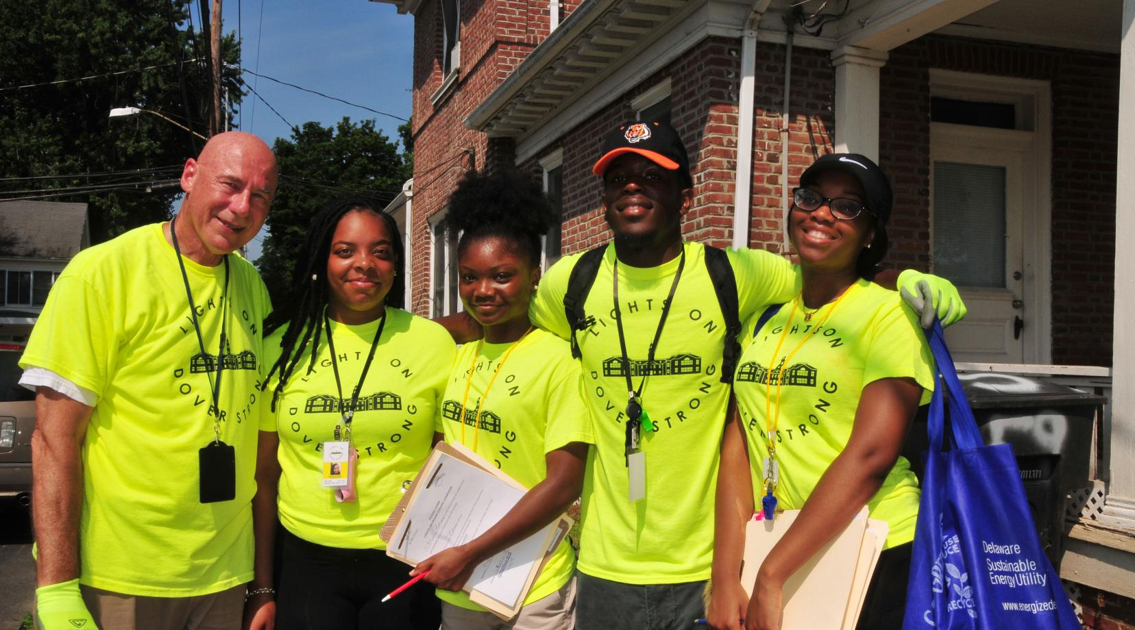 <p>(L-r) Lights on Dover Strong Program team -- Charles Kistler, executive director of the HELP Initiative, with DSU students Danielle McAllister, Dashayna Brown, Eric Wright and Rich Kotter. The team is making a crime-challenged area of Dover safer.</p>