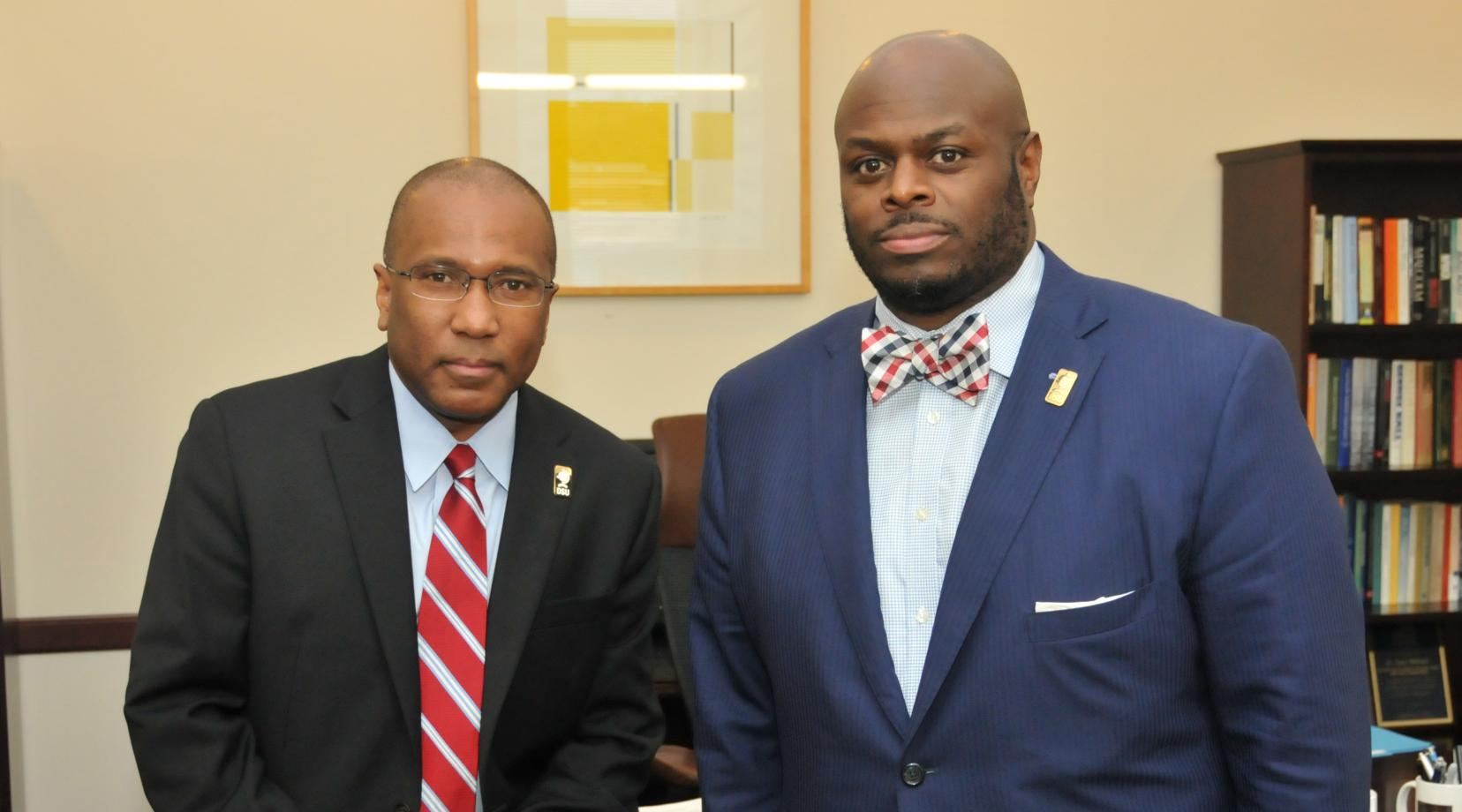<p>(L-r) DSU President Harry L. Williams and DSU Provost Tony Allen say in a joint statement about Charlottesville that DSU stands in solidarity with those people of all backgrounds who bravely faced hatred of the white supremacist groups last weekend.</p>