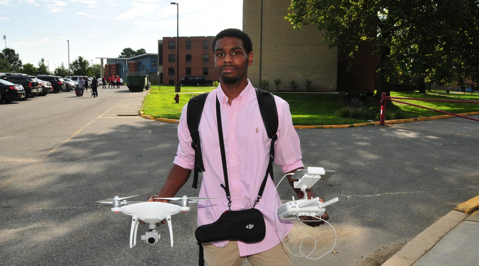 Rashaun Bosley, a senior public relations major, has a drone videography business and has done footage for the DSU website.