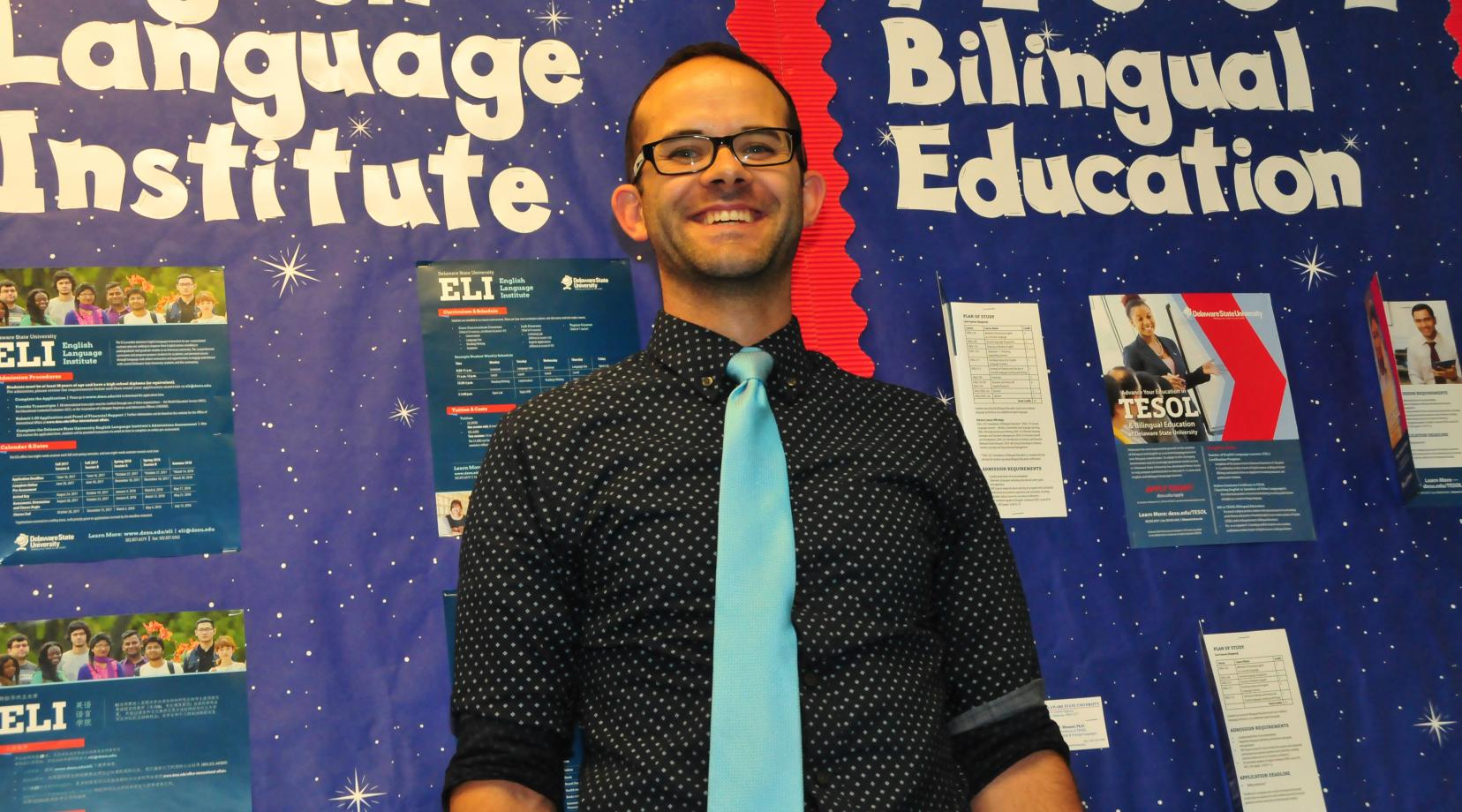 <p>Dr. Brody Bluemel, assistant professor of applied linguistics, will use the funding to study dual language immersion programs in Delaware.</p>