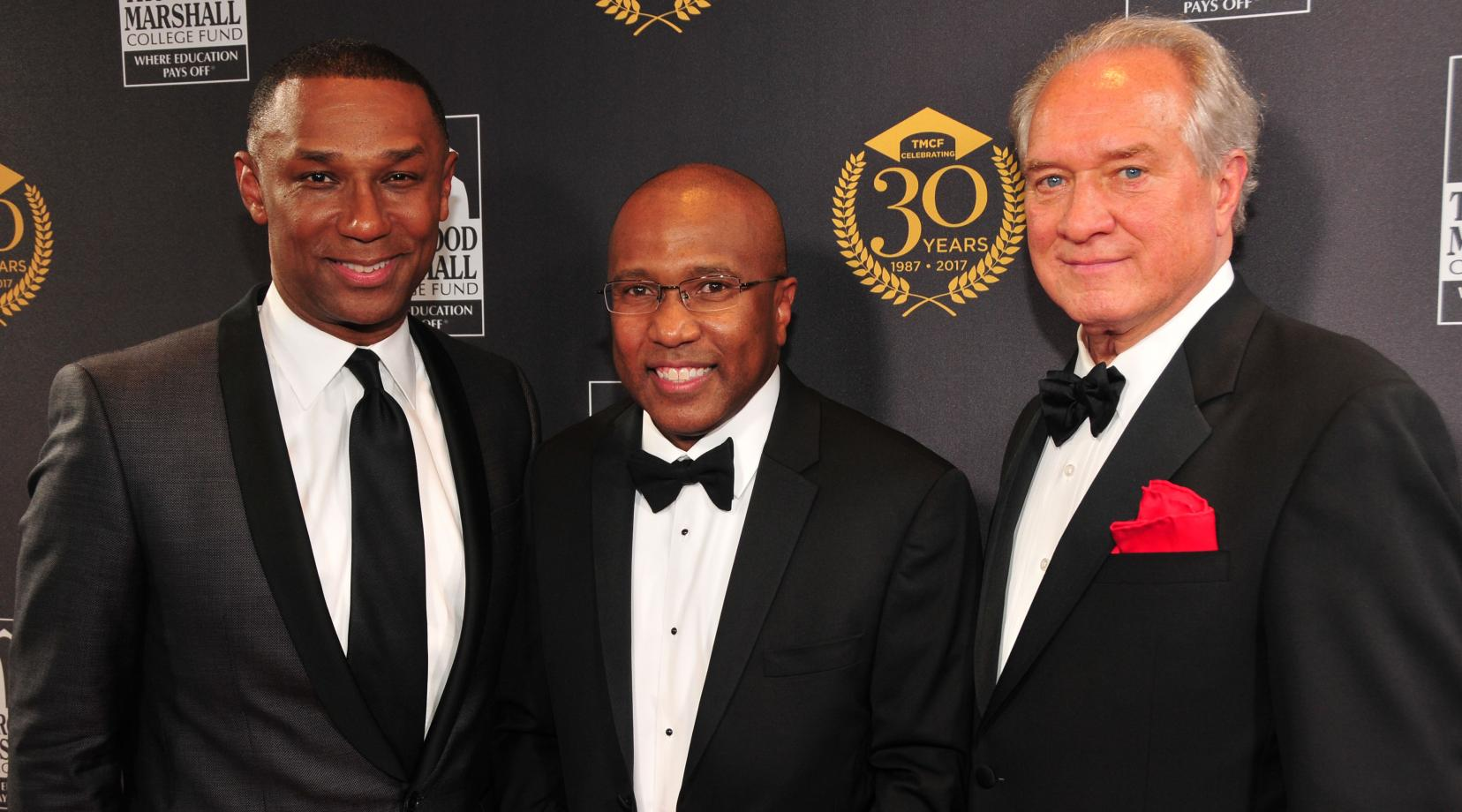 (L-r) Dr. Johnny C. Taylor Jr., outgoing TMCF CEO/president; Dr. Harry L. Williams, outgoing DSU president and newly elected TMCF CEO/president; and Jim Clifton, TMCF Board of Directors chairman and Gallup CEO. The three posed together for a photo during the Oct. 23 Thurgood Marshall Awards Gala, where Dr. Williams' new career chapter was announced.