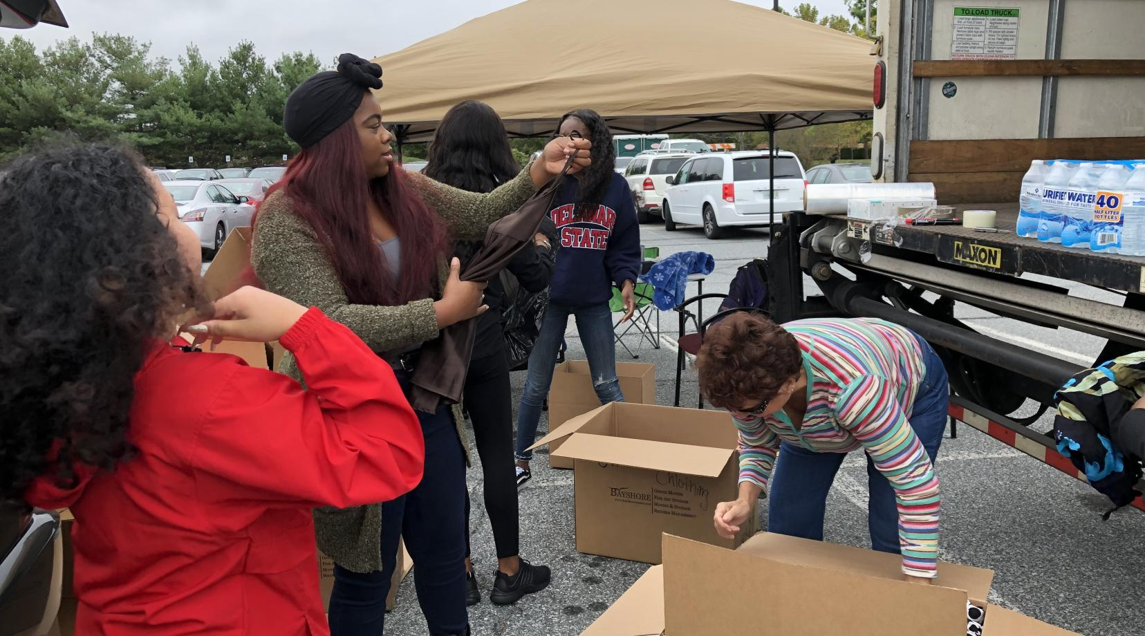 <p>Members of the DSU Women's Senate prepare to send items collected on campus to be joined with a larger statewide effort to provide emergency relief to the Hurricane Harvey region of Texas.</p>