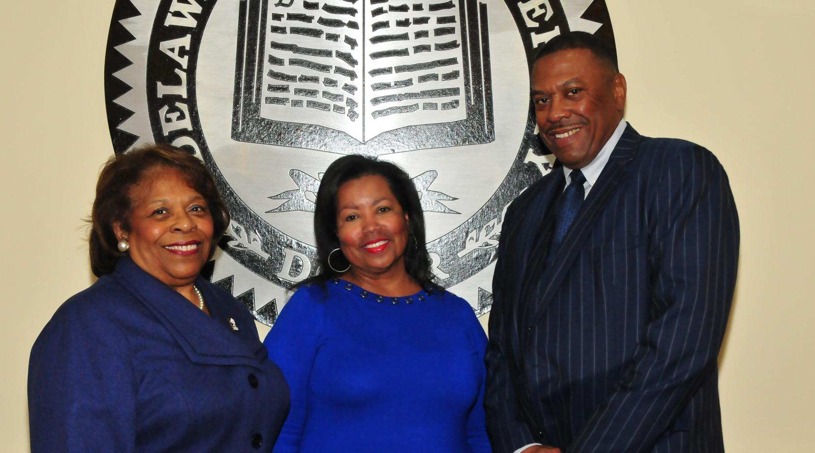 <p>The DSU Board of Trustees has selected Dr. Wilma Mishoe as the interim University president, Dr. Devona Williams as the board's interim chairwoman and John Ridgeway as interim vice chair. Those interim leadership responsibilities will commence when current DSU President Harry L. Williams leaves the institution in January to become the CEO/president of the Thurgood Marshall College Fund.</p>
