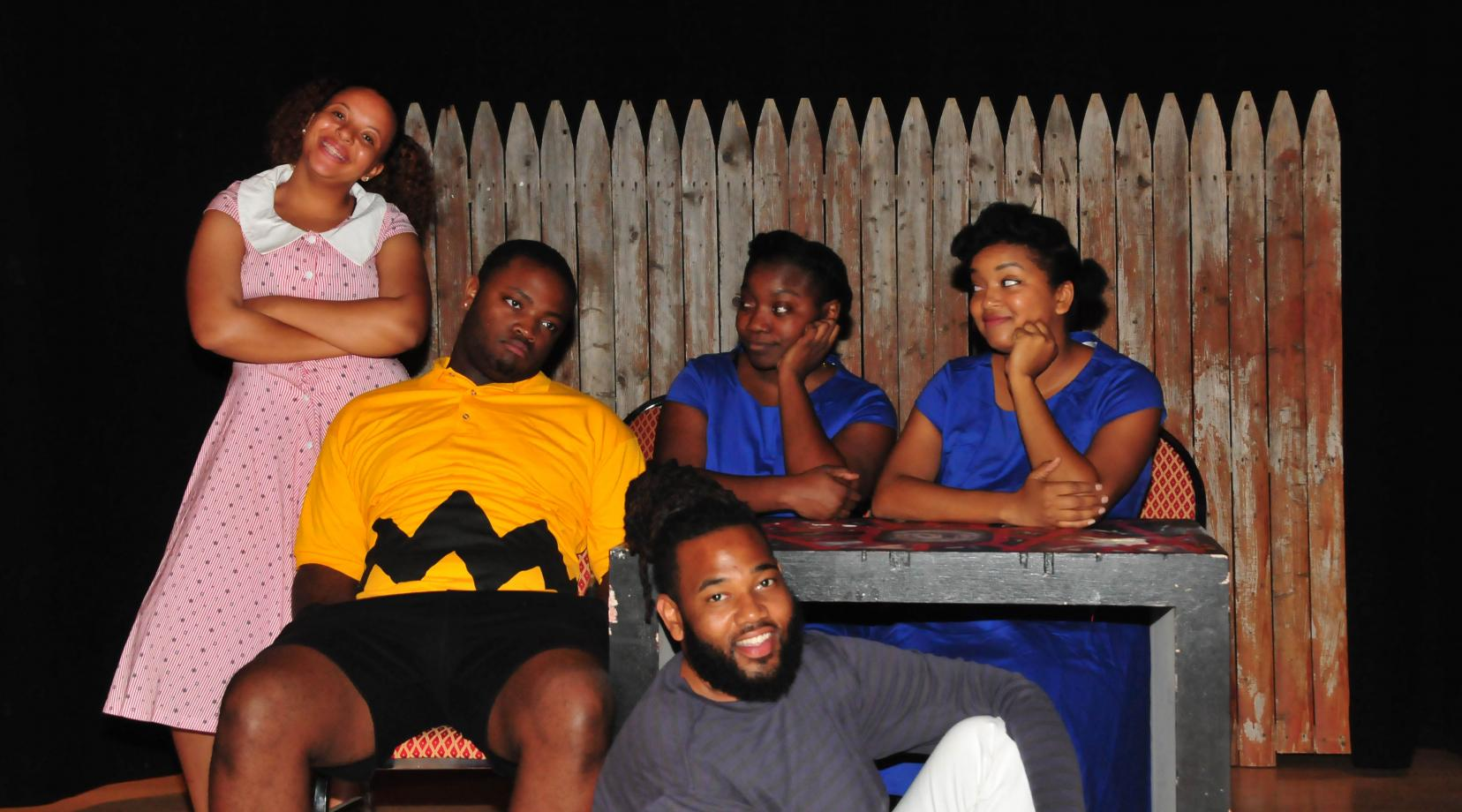 <p>(L-r) Sháe Ross (as Sally), Anthony McIver (Charlie Brown), Jahselan White (Lucy understudy), Marquita Richardson (Lucy) and Tyrone J. Ashley Jr. (Schroeder).</p>