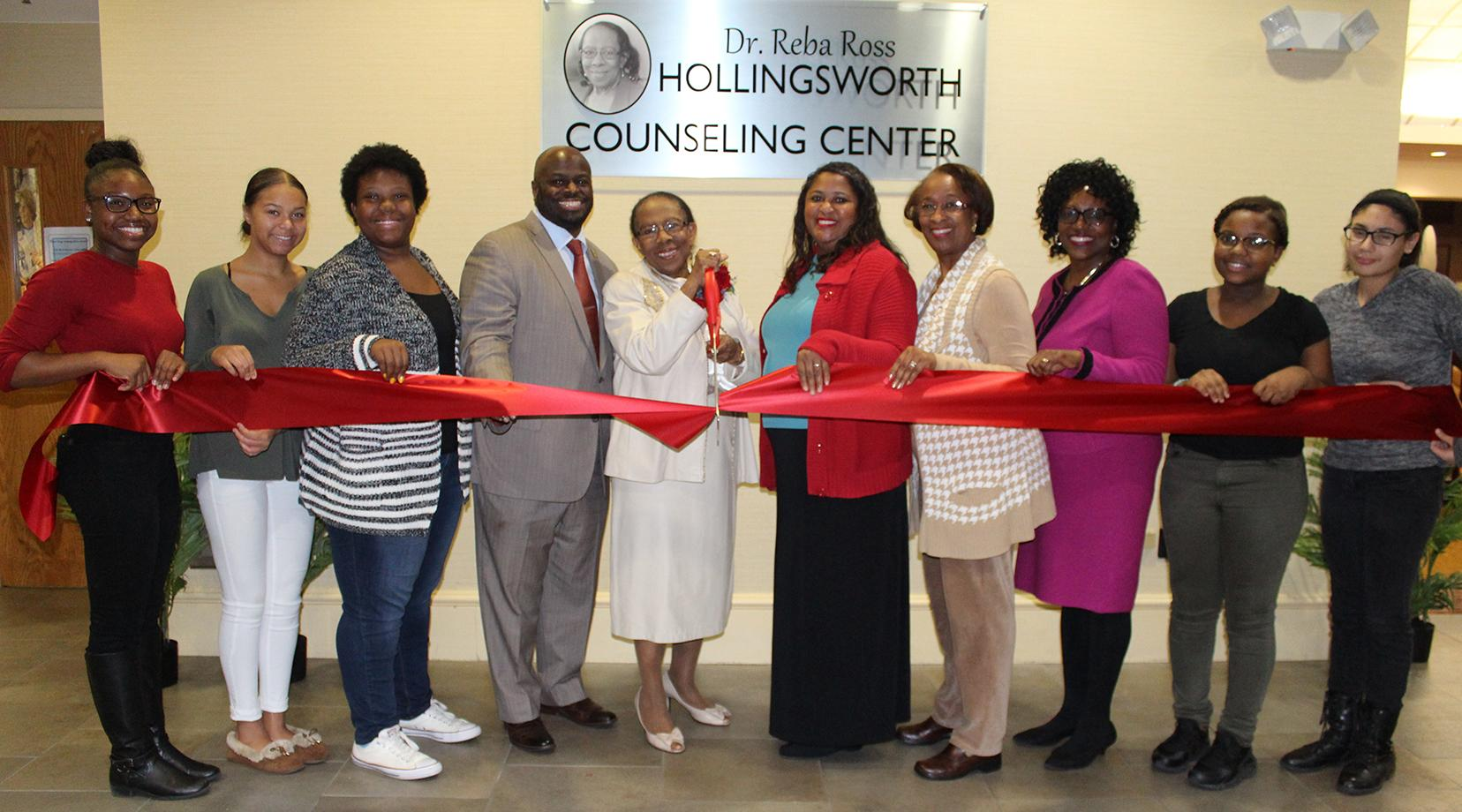 <p>The opening of the Dr. Reba Ross Hollingsworth Counseling Center at the Early College High School at Delaware State University was recently celebrated with a ribbon-cutting ceremony.</p>