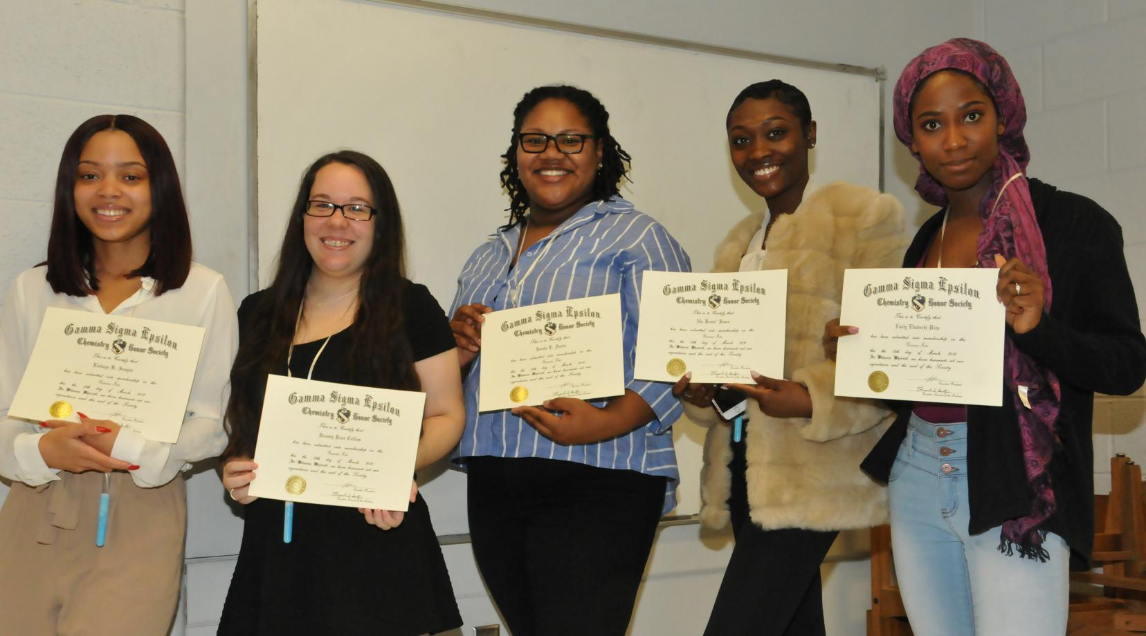 <p>Seated (l-r) Gamma Sigma Epsilon Initiates: Linkeya Sample, Emily Uche, Nia Jones, Jamila Davis, and Brandy Collins.; chemistry faculty (standing l-r): Dr. Jalaal Hayes, Dr. Cherese Winstead-Casson, Dr. Kimberly Milligan, Dr. Weiping Song, Dr. Young Gi-Kim, and Dr. Bizuneh Workie</p>