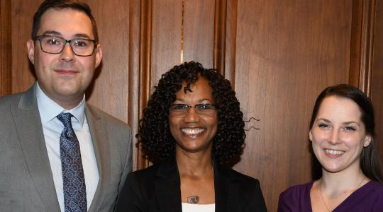 <p>Dr. Sheridan Kingsberry (center), Delaware's 2018 Social Worker of the Year, poses with Michael Francum (l), executive director of the Delaware Chapter of the National Association of Social Workers, and Shannon Fisch, the president of the NASW-DE Board of Directors.</p>