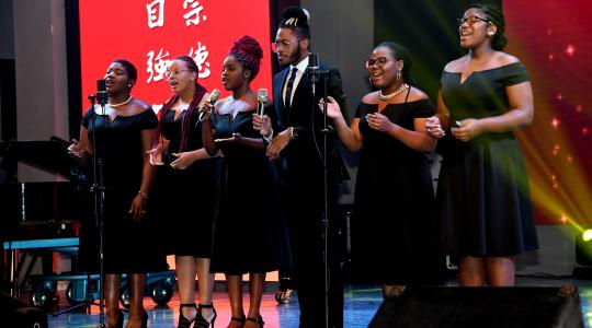"""<p>DSU Gospel Choir members Kiyah Mewborn, Shaé Ross, Ashlyn Moore, Darrell Miller, Niraha Traylor and Jevana Lambert give a powerful performance of the song """"My God is an Awesome God."""" Not pictured are pianist Manuel Scott and drummer Nasir Carter Stokes.</p>"""