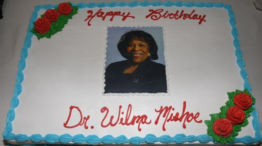 <p>The cake that was made (and eaten) in celebration of Dr. Mishoe's 69th birthday.</p>