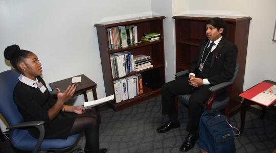 <p>Mock interviews were one of the preparatory elements of the College of Business' annual Deep Day.</p>