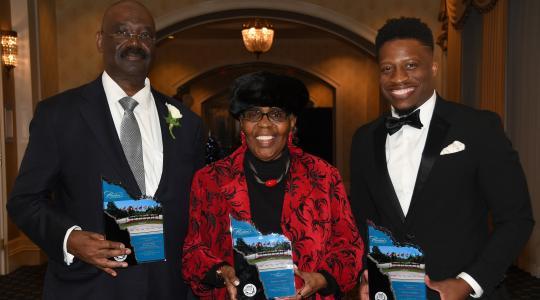 <p>The 2018 President's Scholarship Ball's University Partners Award recipients: (l-r) Bennie Smith, Marion E. Gibbs and Blake R. Saunders.</p>