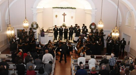 """<p>The University Concert Choir and the accompanying chamber orchestra ended """"The Messiah"""" with the traditional rousing rendition of """"Hallelujah.""""</p>"""