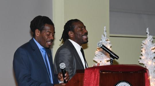 <p>The Twin Poets -- University alumnus and Delaware Poet Laureates -- blessed the attending graduating seniors with some inspiring spoken words works.</p>
