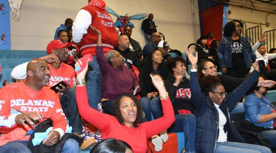 <p>Delaware State University grads had a Hornet of a good time during the Alumni Day event at the UMES vs. DSU basketball doubleheader at Memorial Hall</p>