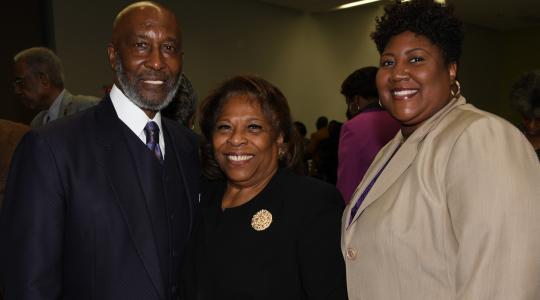 <p>Bishop John R. Bryant, Prayer Breakfast keynote speaker, University President Wilma Mishoe, and Rev. Erika Crawford, Community Faith Partner Awardee.</p>